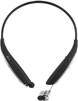 Black LG Tone Ultra Headset Front View with Headphone Extending