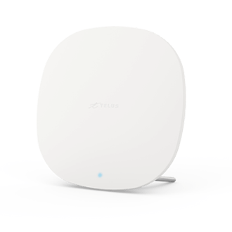 Front view of a TELUS Boost Wi-Fi device in a sleek, white, circular design.