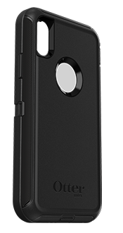 Black OtterBox iPhone X/Xs Defender Case Angled View