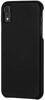 Étui Barely There Leather noir de Case-Mate pour iPhone XR – vue inclinée
