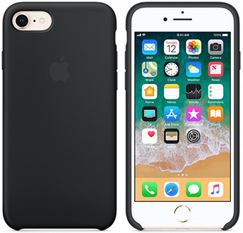 Black Apple Silicone iPhone 7/8 Case Front and Back View
