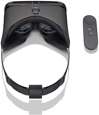 Top Down View of Google Daydream View Beside Controller