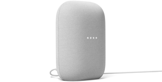 Angled Google Nest Audio chalk front view