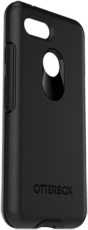 Black OtterBox Pixel 3 Symmetry Case Angled View