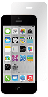 Clear Moshi Airfoil Glass - iPhone 5/5S/5C/SE Screen Protector Front View with Black iPhone