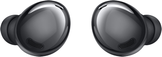 View of Phantom Black Samsung Galaxy Buds Pro buds