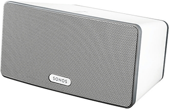 White Sonos PLAY:3 Speaker Angled Front View