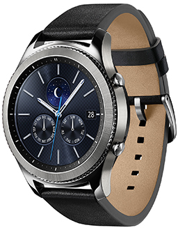 Black Samsung Gear S3 Classic Smartwatch Angled Front View
