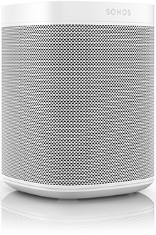 White Sonos One Smart Speaker Angled View