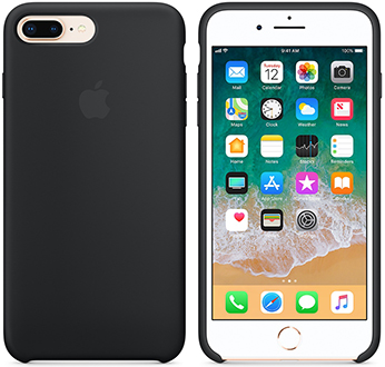Black Apple Silicone iPhone 7 Plus/8 Plus Case Front and Back View
