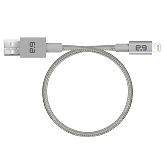 Grey PureGear Braided Metallic Charge and Sync Cable for Lightning Devices (9in) - Front View