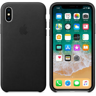 Black Apple Leather iPhone X Case Front and Back View