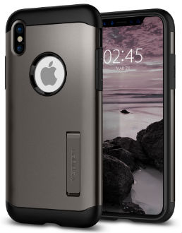 Gunmetal Spigen Slim Armor - Apple iPhone X Case Back View