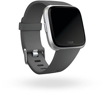 Angled Charcoal Fitbit Versa Lite Watch Front
