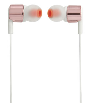 Rose Gold T210 In-Ear Headphones Side View