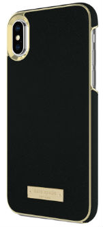 Black Saffiano kate spade Inlay Wrap - iPhone X Case Angled View