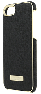 Black Saffiano kate spade Inlay Wrap - iPhone 7/8 Case Angled View