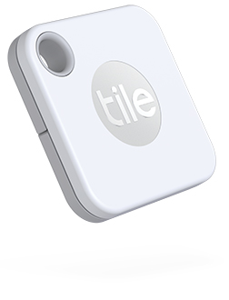 Angled White Tile Mate Bluetooth Item Tracker Front