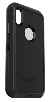 Black OtterBox iPhone XR Defender Case Angled View