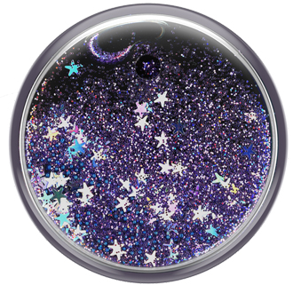 Tidepool Galaxy with Purple Glitter PopSocket PopGrip Flat from the front