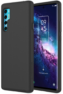 Angled black Axessorize PROTech Case TCL 20 Pro 5G from the back and front