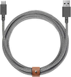Rolled Up Zebra Native Union USB-A to USB-C BELT Cable XL