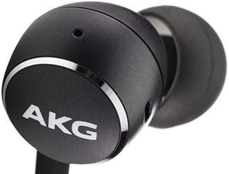 Black AKG Y100 Wireless In-Ear Headphones Earbud Close Up