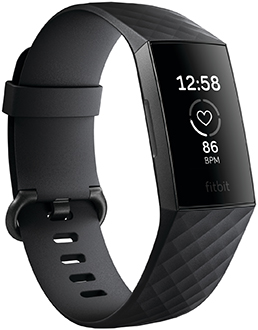 Angled Black Fitbit Charge 3 Front