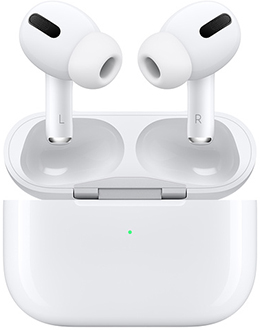 White Apple AirPods Pro hovering over charging case