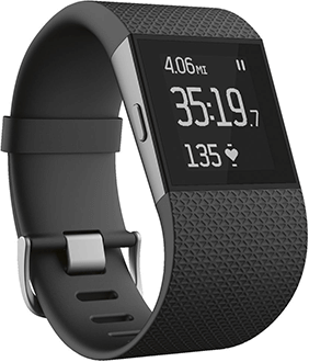 Black Fitbit Surge Angled View