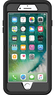 Black Otterbox iPhone 7 Plus Defender Case Front View