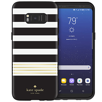 Black/Cream Striped Kate Spade Galaxy S8 Hardshell Case Back and Front View