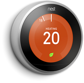 Nest Learning Thermstat Angled Front View