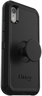 Angled Black Otter + Pop Defender iPhone XR Case with PopTop Extended