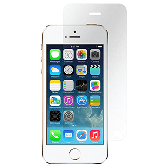 Clear Moshi Airfoil Glass - iPhone 5/5S/5C/SE Screen Protector Front View with White iPhone