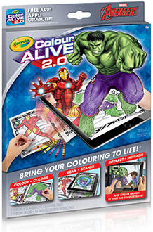 Crayola Colour Alive 2.0 Avengers Colouring Book Front View