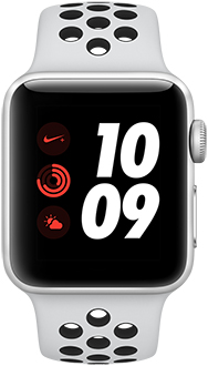 Silver 38mm Apple Watch Nike+ with Platinum/Black Band Front View