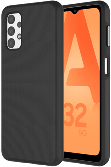 Angled black Axessorize PROTech Case Galaxy A32 from the back and front