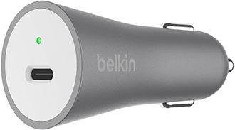 Grey Belkin BOOST CHARGE Car Charger Angled Front View