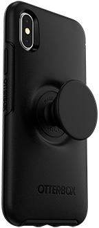 Angled Black Otter + Pop Symmetry iPhone X/Xs Case with PopTop Extended
