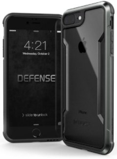 Black X-Doria Defence Shield iPhone 7 Plus/8 Plus Case Front and Back View