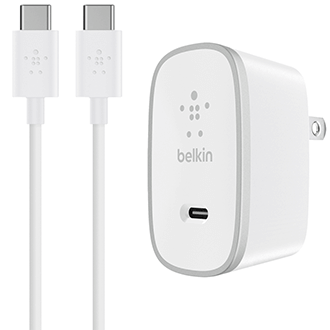 White Belkin USB-C Home Charger + USB-C to USB-C Cable - Front View