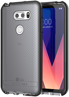 Smokey/Black Tech21 Evo Check LG V30 Case Back and Front View