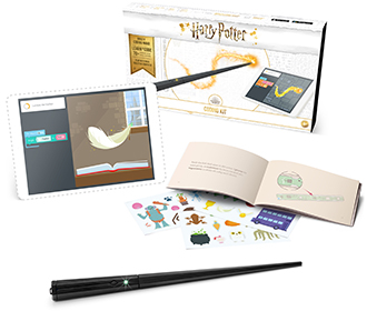 Coding wand, box, tablet, book and stickers