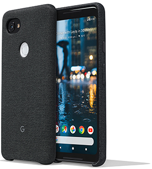 Carbon Google Fabric Case (Pixel 2 XL) Front and Back View