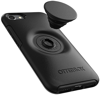 Black Otter + Pop Symmetry iPhone 7/8 Case with PopTop Hovering Over Case