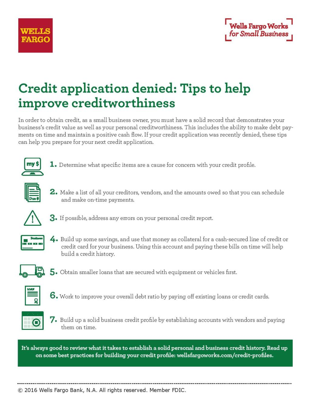 Tips for improving creditworthiness wells fargo credit application denied tips to help improve creditworthiness reheart Gallery