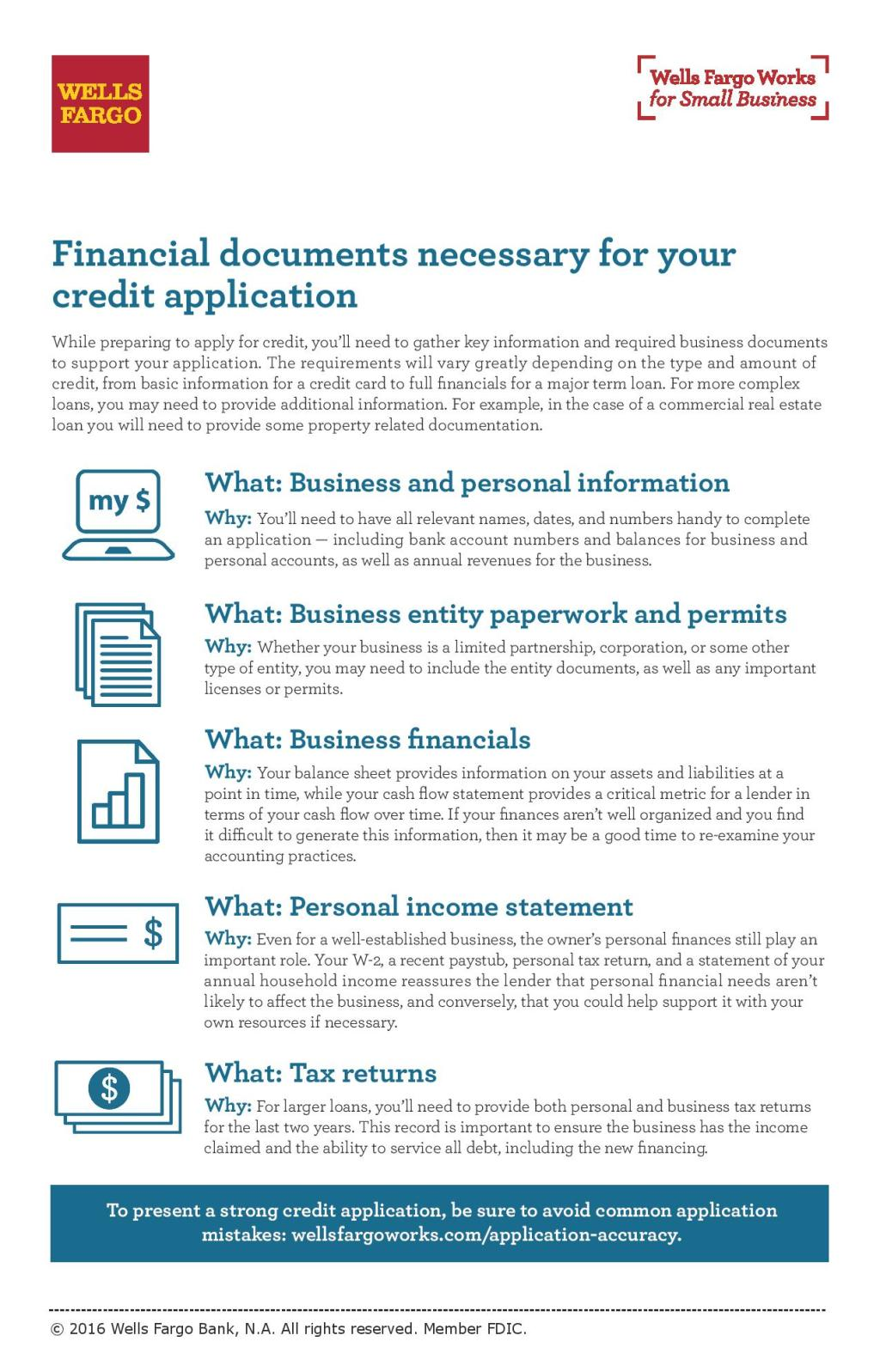 Business Financial Documents For The Credit Application