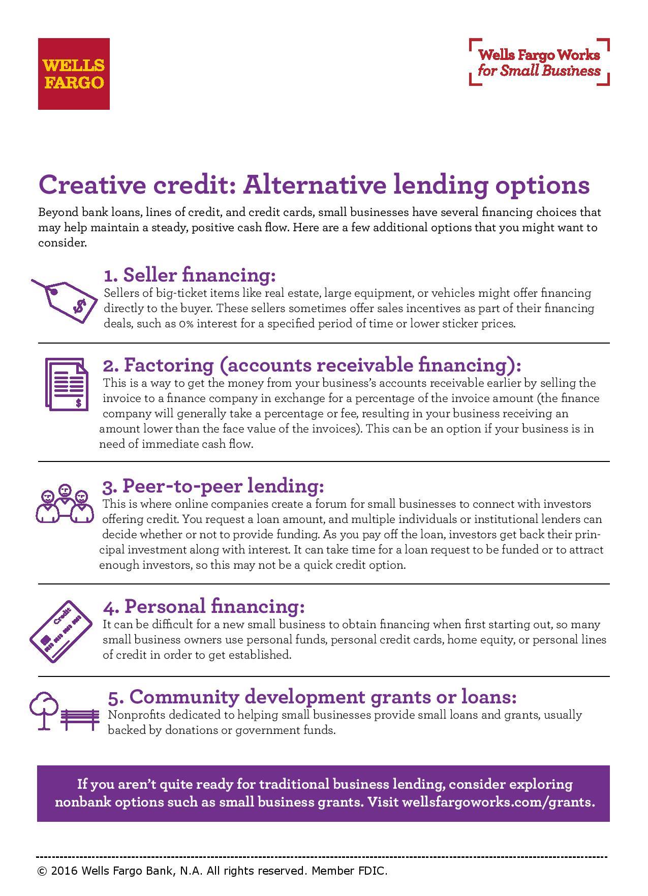 Factoring and nonbank credit options wells fargo creative credit alternative lending options magicingreecefo Choice Image
