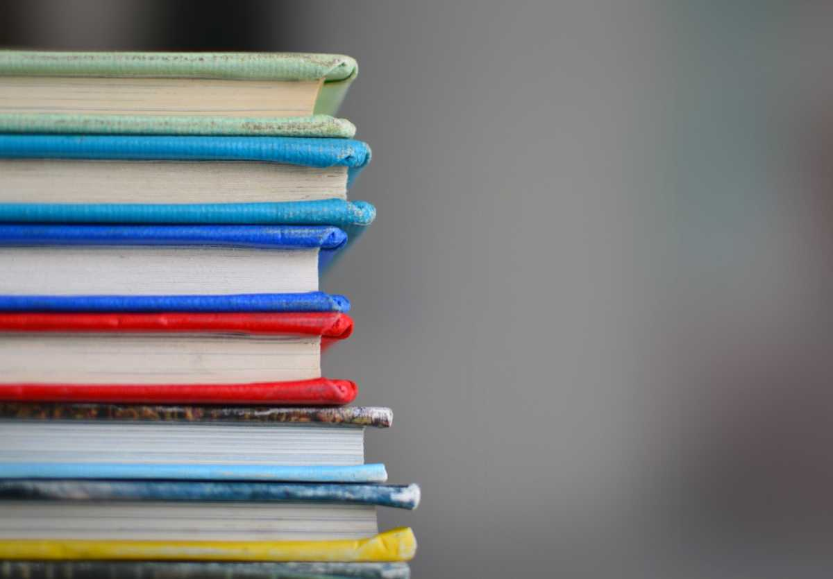 Stack of books with colored covers.